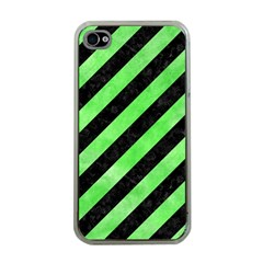 Stripes3 Black Marble & Green Watercolor Apple Iphone 4 Case (clear)