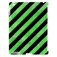 Stripes3 Black Marble & Green Watercolor Apple Ipad 3/4 Hardshell Case (compatible With Smart Cover)
