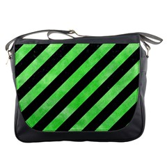 Stripes3 Black Marble & Green Watercolor Messenger Bags