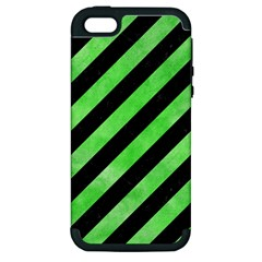 Stripes3 Black Marble & Green Watercolor Apple Iphone 5 Hardshell Case (pc+silicone)
