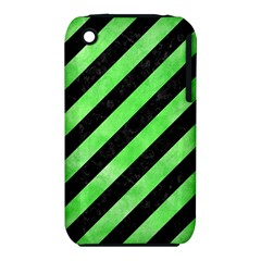 Stripes3 Black Marble & Green Watercolor Iphone 3s/3gs