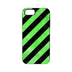 Stripes3 Black Marble & Green Watercolor Apple Iphone 5 Classic Hardshell Case (pc+silicone)