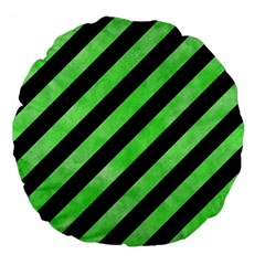 Stripes3 Black Marble & Green Watercolor Large 18  Premium Flano Round Cushions