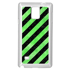 Stripes3 Black Marble & Green Watercolor Samsung Galaxy Note 4 Case (white)