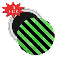 Stripes3 Black Marble & Green Watercolor (r) 2 25  Magnets (10 Pack)