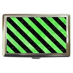 Stripes3 Black Marble & Green Watercolor (r) Cigarette Money Cases