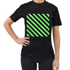 Stripes3 Black Marble & Green Watercolor (r) Women s T Shirt (black) (two Sided)