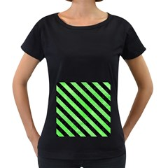 Stripes3 Black Marble & Green Watercolor (r) Women s Loose Fit T Shirt (black)