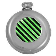 Stripes3 Black Marble & Green Watercolor (r) Round Hip Flask (5 Oz)