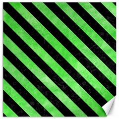 Stripes3 Black Marble & Green Watercolor (r) Canvas 20  X 20