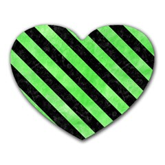 Stripes3 Black Marble & Green Watercolor (r) Heart Mousepads