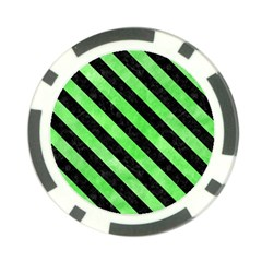 Stripes3 Black Marble & Green Watercolor (r) Poker Chip Card Guard