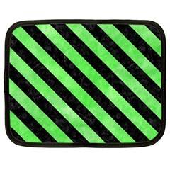 Stripes3 Black Marble & Green Watercolor (r) Netbook Case (large)