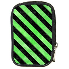 Stripes3 Black Marble & Green Watercolor (r) Compact Camera Cases
