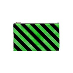 Stripes3 Black Marble & Green Watercolor (r) Cosmetic Bag (small)