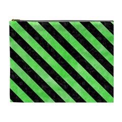 Stripes3 Black Marble & Green Watercolor (r) Cosmetic Bag (xl)
