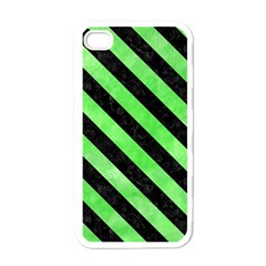 Stripes3 Black Marble & Green Watercolor (r) Apple Iphone 4 Case (white)