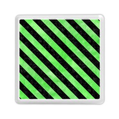 Stripes3 Black Marble & Green Watercolor (r) Memory Card Reader (square)