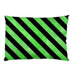 Stripes3 Black Marble & Green Watercolor (r) Pillow Case (two Sides)