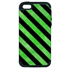 Stripes3 Black Marble & Green Watercolor (r) Apple Iphone 5 Hardshell Case (pc+silicone)