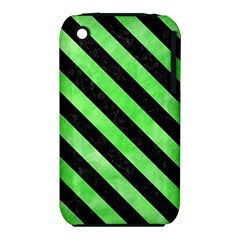 Stripes3 Black Marble & Green Watercolor (r) Iphone 3s/3gs