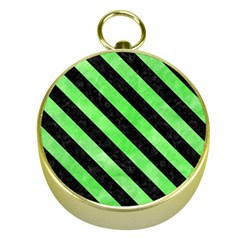 Stripes3 Black Marble & Green Watercolor (r) Gold Compasses