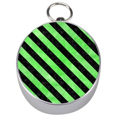 Stripes3 Black Marble & Green Watercolor (r) Silver Compasses