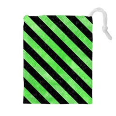 Stripes3 Black Marble & Green Watercolor (r) Drawstring Pouches (extra Large)