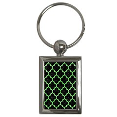Tile1 Black Marble & Green Watercolor Key Chains (rectangle)