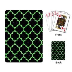 Tile1 Black Marble & Green Watercolor Playing Card