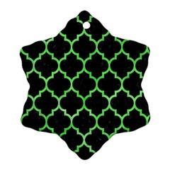 Tile1 Black Marble & Green Watercolor Ornament (snowflake)