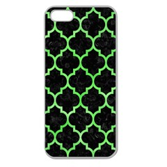 Tile1 Black Marble & Green Watercolor Apple Seamless Iphone 5 Case (clear)