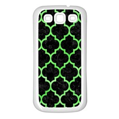Tile1 Black Marble & Green Watercolor Samsung Galaxy S3 Back Case (white)