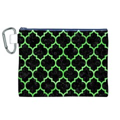 Tile1 Black Marble & Green Watercolor Canvas Cosmetic Bag (xl)
