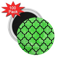 Tile1 Black Marble & Green Watercolor (r) 2 25  Magnets (100 Pack)