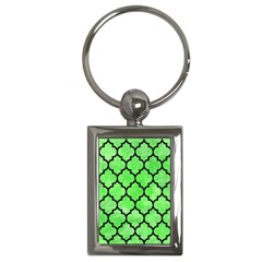 Tile1 Black Marble & Green Watercolor (r) Key Chains (rectangle)