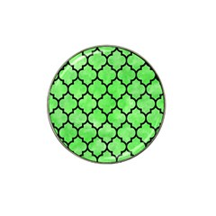 Tile1 Black Marble & Green Watercolor (r) Hat Clip Ball Marker