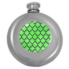Tile1 Black Marble & Green Watercolor (r) Round Hip Flask (5 Oz)