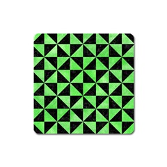 Triangle1 Black Marble & Green Watercolor Square Magnet