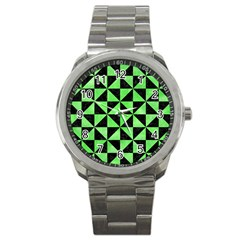 Triangle1 Black Marble & Green Watercolor Sport Metal Watch