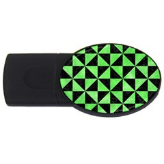 Triangle1 Black Marble & Green Watercolor Usb Flash Drive Oval (4 Gb)