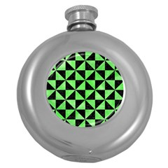 Triangle1 Black Marble & Green Watercolor Round Hip Flask (5 Oz)