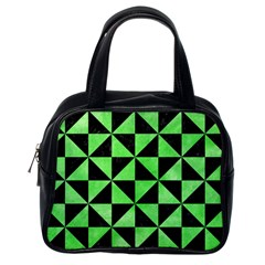 Triangle1 Black Marble & Green Watercolor Classic Handbags (one Side)