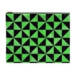 Triangle1 Black Marble & Green Watercolor Cosmetic Bag (xl)
