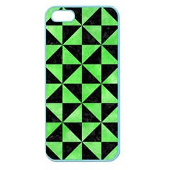 Triangle1 Black Marble & Green Watercolor Apple Seamless Iphone 5 Case (color)