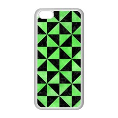 Triangle1 Black Marble & Green Watercolor Apple Iphone 5c Seamless Case (white)