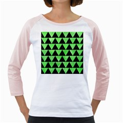 Triangle2 Black Marble & Green Watercolor Girly Raglans