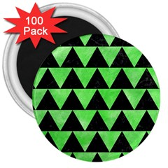 Triangle2 Black Marble & Green Watercolor 3  Magnets (100 Pack)