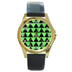 Triangle2 Black Marble & Green Watercolor Round Gold Metal Watch