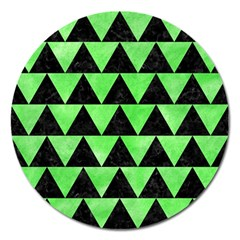 Triangle2 Black Marble & Green Watercolor Magnet 5  (round)